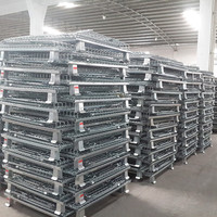 Warehouse Metal Collapsible Wire Box Mesh Storage Cage 800*600*640