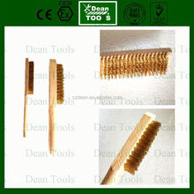 non magnetic brush non sparking scrubber brass wire with wooden handle application industry cleaning tool