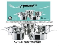 12PC High Quality Stainless Steel Cookware Set