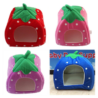 New Winter Dog House Soft Strawberry Pet Dog Cat Rabbit Bed House Warm Cushion