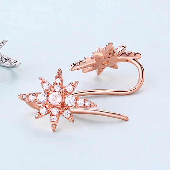 Star Shape Natural Pink Crystal Earrings Rose Gold Plated