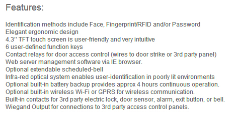 hotsales FR-Iface702 facial and fingerprint access control