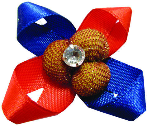 DIY Colorful Satin Ribbon Flower With Rhinestone