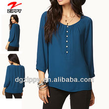 Long Sleeve Essential Georgette Swing Top bangkok clothes wholesale