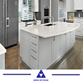 White Solid Multi Color Quartz Countertops With Single Sink and Quartz slabs for interior decoration