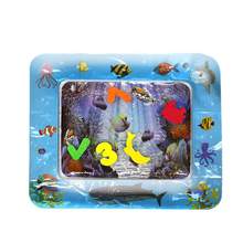 Popular Inflatable Tummy Time Water Play Mat Baby Water Mat With Floating Sea Animals