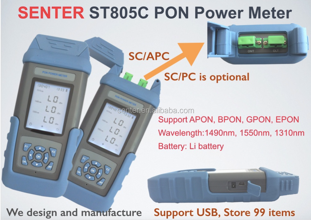 ST805C Optical Power Meter Tester Handheld PON Optical Power Meter Used in FTTH digital system of communication devices