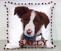 DOG with Pet Name embroidered-100% Cotton Cushion Cover - 45 Cm Sq. - 37086