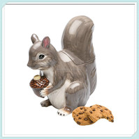 Hot sale squirrel animal shape ceramic cookie storage containers