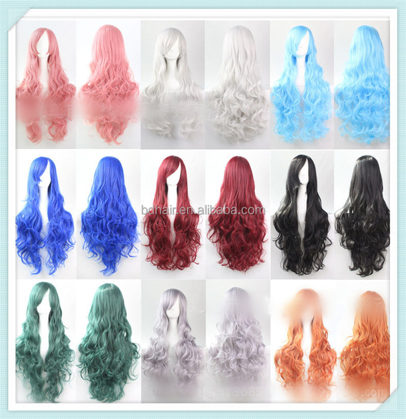 Hot Cheap Long Colorful Party Carnival Wigs synthetic fiber wigs silvery white wig 70cm