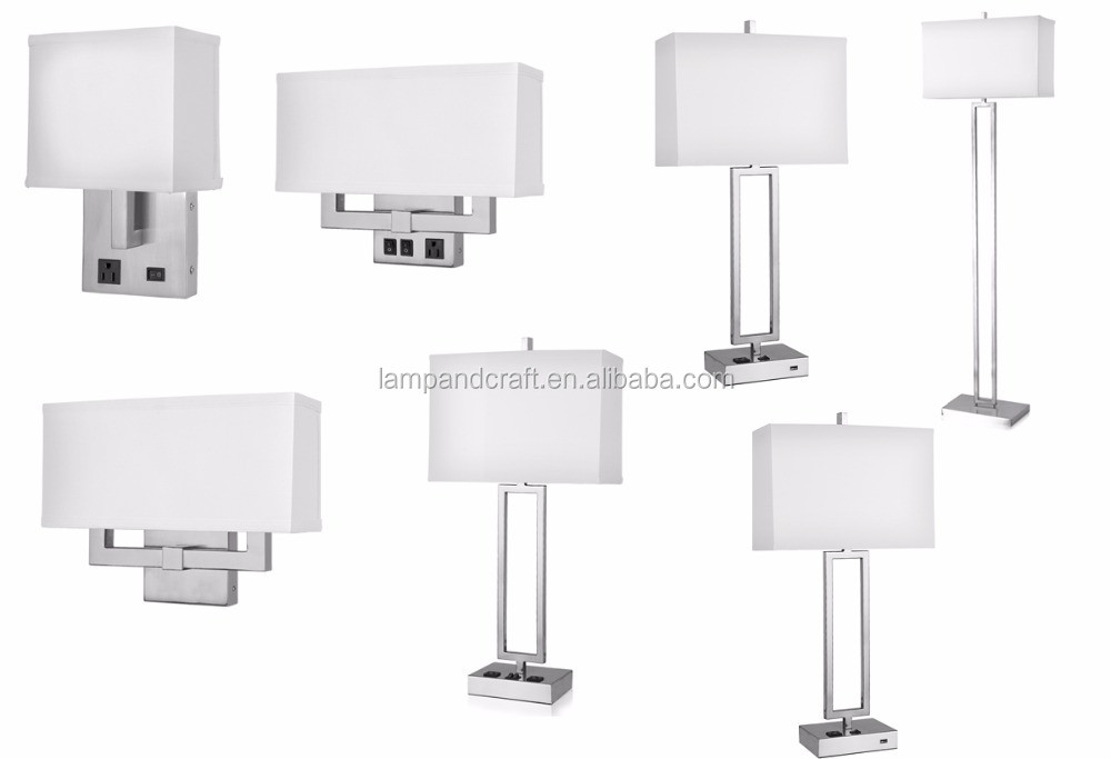 Hilton hotel lamps with outlets USB port night lamps for bedroom decoration desk lamps for hotel lighting furniture UL list