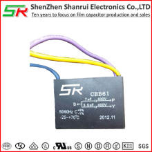 Top class heat resisting cbb61 ceiling fan capacitor 3 wire 3.5uf+7uf 400v RoHS compliant