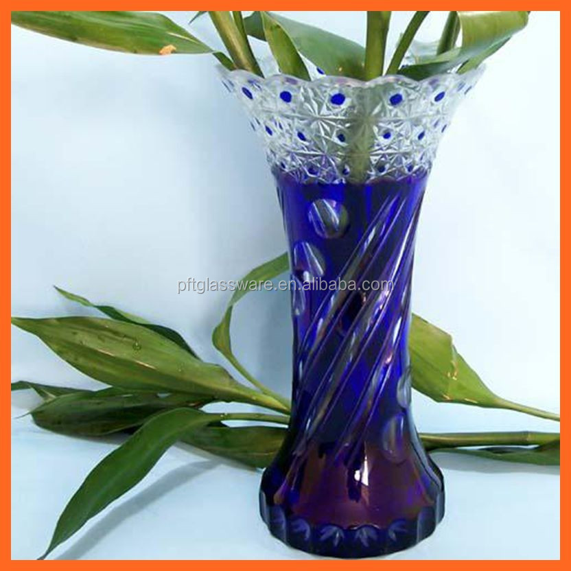 New fancy home hotel use big wholesale glass vase colorful decal glass flower glass