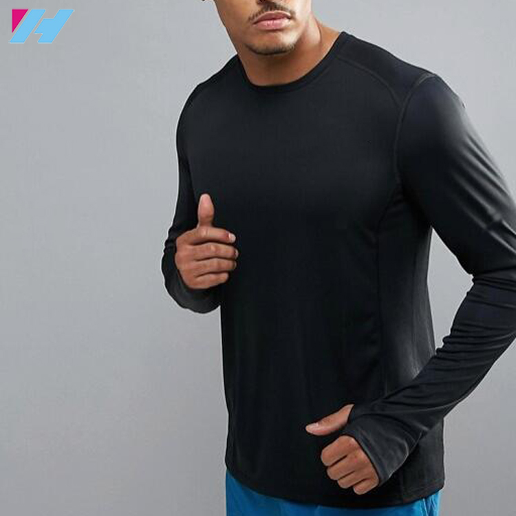 collar sport fitness t shirts elastane mens workout slim fit plain black long sleeve shirts