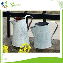 French Style White Shabby Pitcher Vintage Rustic Chic Oval Metal Rope Zinc Galvanised Flower Pots