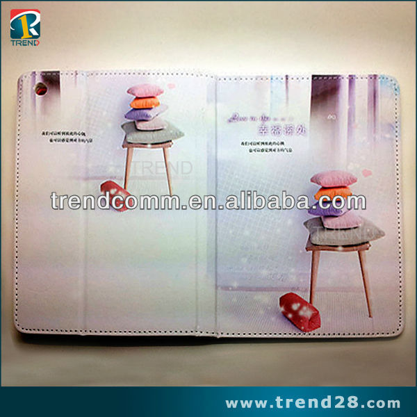 2013 cute Cartoon photoes picture frame foldable leather case for ipad mini