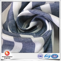 yarn dyed cotton linen navy blue and white stripe fabric for shirts with coolmax