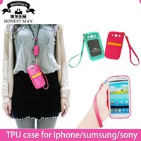 New arrival TPU leather cell phone sling bag with back card slots cover for samsung S3, S4, S5 wholesale