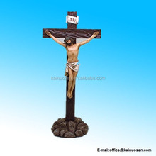 Hand Painted 12 inch Resin Stone Crucifix Tabletop Cross Figurine
