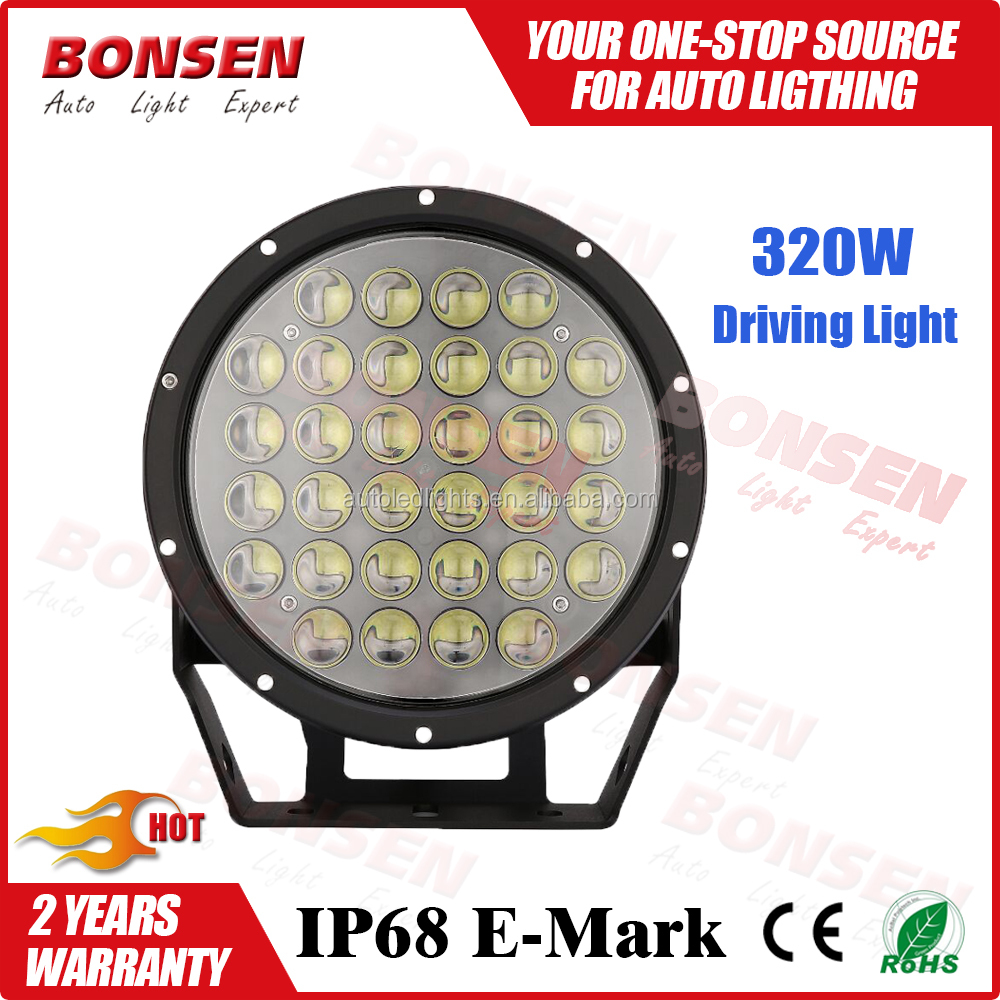9inch 320w LED Work Light for truck agricultural machine heavy duty boat marine 320W LED driving light