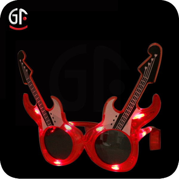 Women's Party Favor Guitar Shaped Blinking Led Sunglasses For Decoration