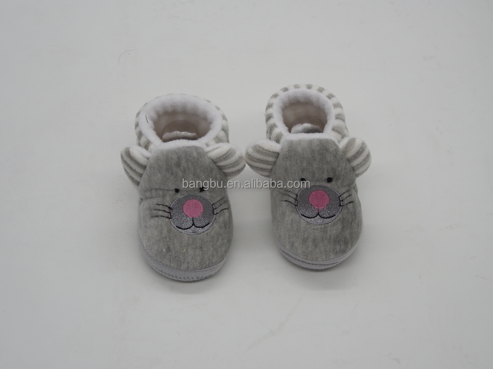 cute soft fleece baby shoes with embroidery stripe infant newborn baby shoes