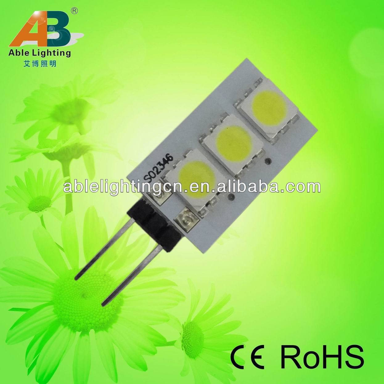 2013 New 12v 0.6w ce rohs led spolight 5050smd warm white bulb 50lm gu4