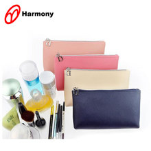 2017 simple fashion design zipper customized pu cosmetic pouch