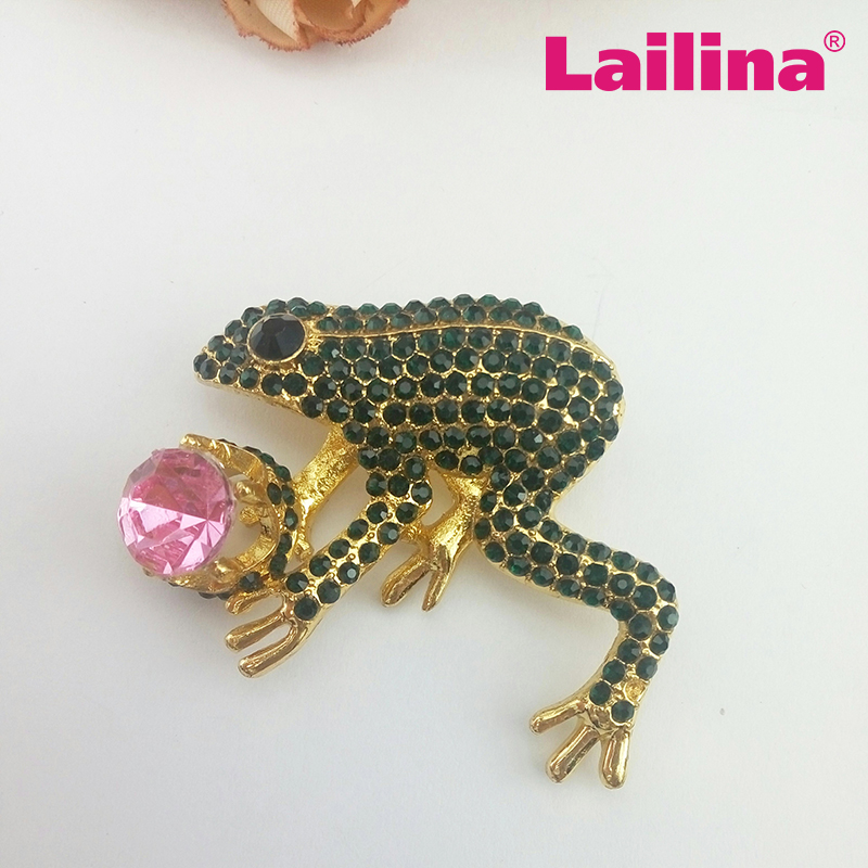 Green Frog Rhinestone Brooch, Custome animal rhinestone brooch, Water Frog Toad Brooch for dress jewelry