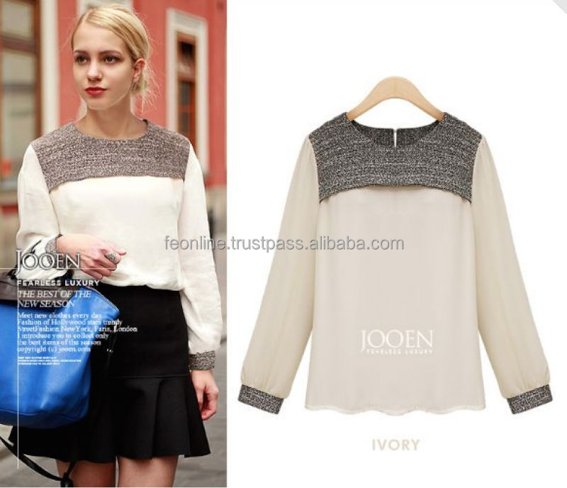 European style 2014 Autumn European Women Fashion lapel long-sleeved chiffon tweed shirt