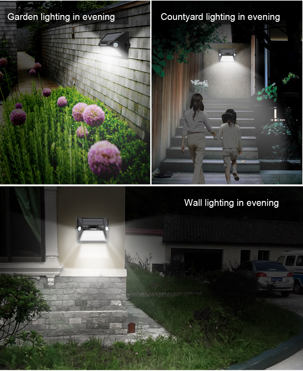 Patent wireless solar powered sensor solar outdoor wall mounted light for garden lighting and decoration