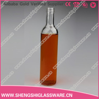 750ml clear empty wine glass bottle in round shape with metal lid