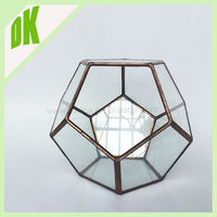 Medium stained Mini Planter, Ring Pillow Bearer Box/ Case / display container , geometric terrarium hanging glass ball holder