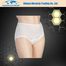 Breathable Postpartum Pants Non Woven Briefs Leopard Printing Disposable Panties With Sanitary Pads