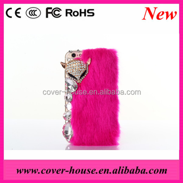 Luxury Bling Crystal Fox Rabbit Fur Case For Apple iPhone 6 6S Rabbit Fur cell phone case for iPhone 6 Plus 6s Plus