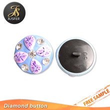 Newest garment accessories bule rhinestone plastic shank button for women clothes