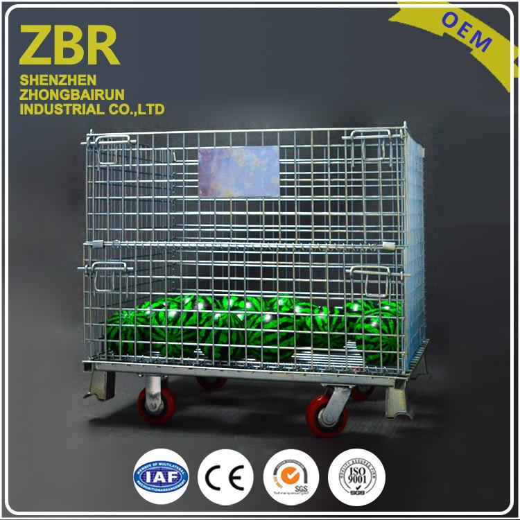 Small Wire Mesh Container Pet Preform Foldable Rolling Metal Storage Cage for Security