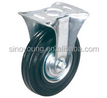 75mm Black rubber fixed caster wheel
