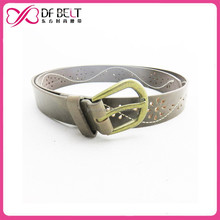 Promotional fashion flower hole gold buckle brown color women's pu leather belt