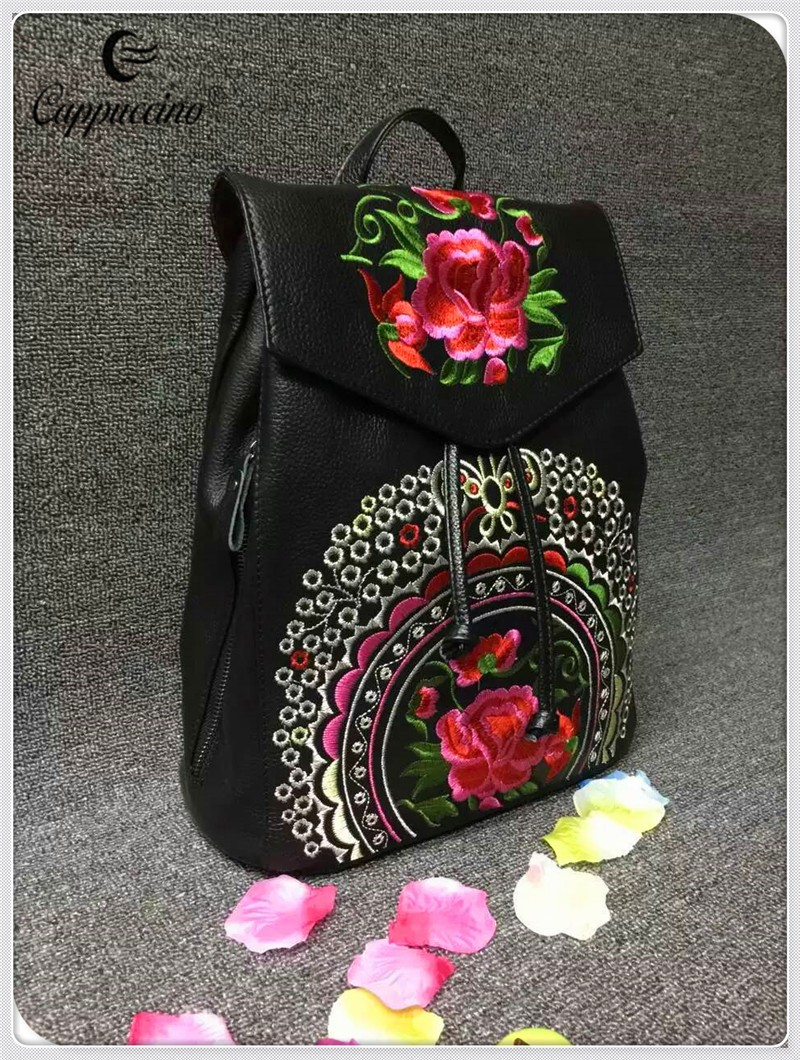 Embroider the flower designe Genuine Leather Backpack, Travel Backpack, School Backpack