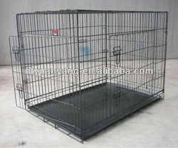 folding black color wire dog crate case with double doors