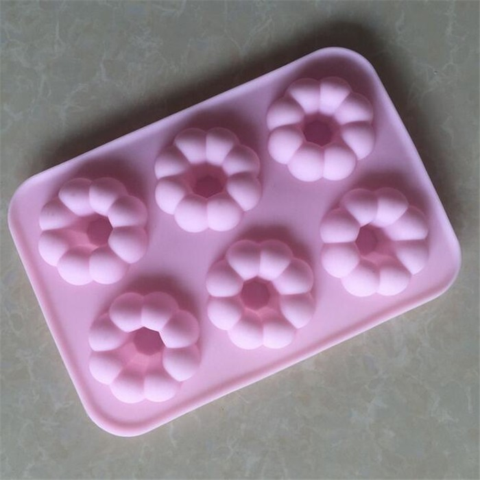 6 Cavity Round Flower Silicone Mini Donut Pan Biscuit Home Kitchen Silicone Pumpkin Cake Mold
