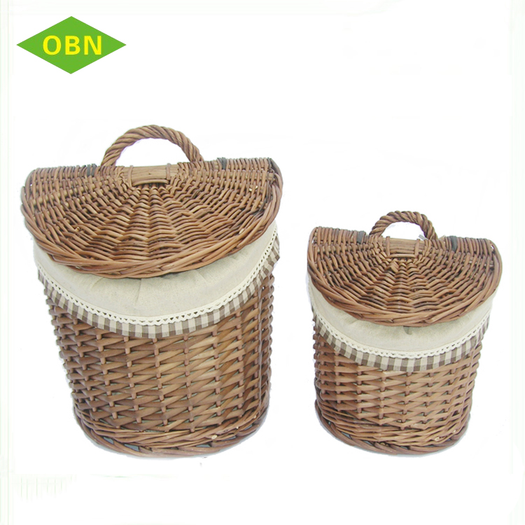 High quality round deep hanging storage basket with lid