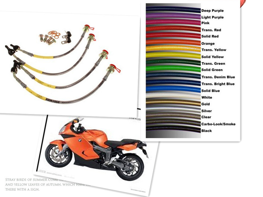Motorcycle Racing Colored TEFLON/PTFE Steel Braided Brake Line Hose Kits