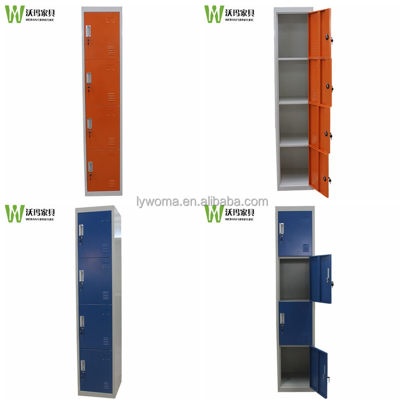 Gym/school furniture type upright colorful 4 tier narrow storage cabinet,the locker