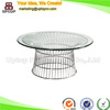 (SP-GT407) Round tempered glass commercial coffee table with wire base