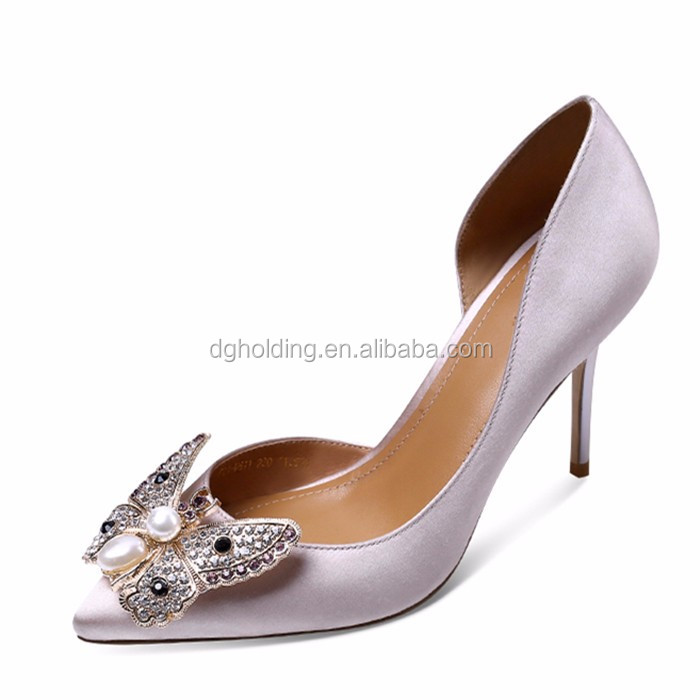 Butterfly Diamond High Heeled Pointy Toes Women Ladies Stiletto Pumps Court Shoes