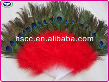 Supply High grade Peacock Feather Fan For Party Fashioned Masquerade props Big Red Handmade Party Dancing Feather Fans