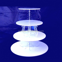 4 Tiers Folding White Circle Plastic Muti-layer Cake Stand