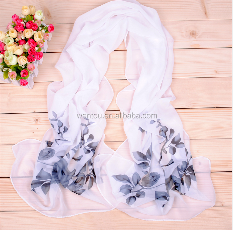 Wholesale Elegant Temperament Flower Printed Chiffon Scarf